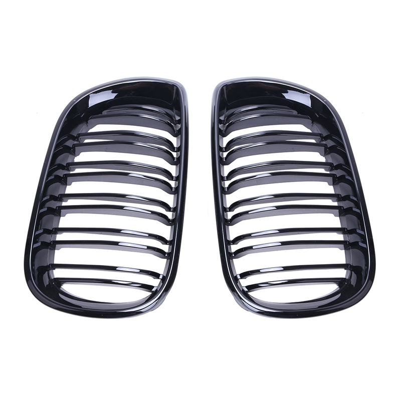 2x Gloss Black Gloss Double Line Line Front Kindly Grill Grilles For BMW E46 4D Sedan 2002 - 2005 320i 325i 330i C/5 стоимость