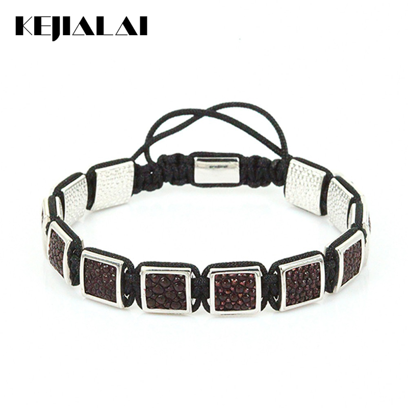 Stingray Leather Bracelets Men Jewelry Square Beads Braiding Macrame Bracelet Luxury Style Match Watch for Men Best Friendship