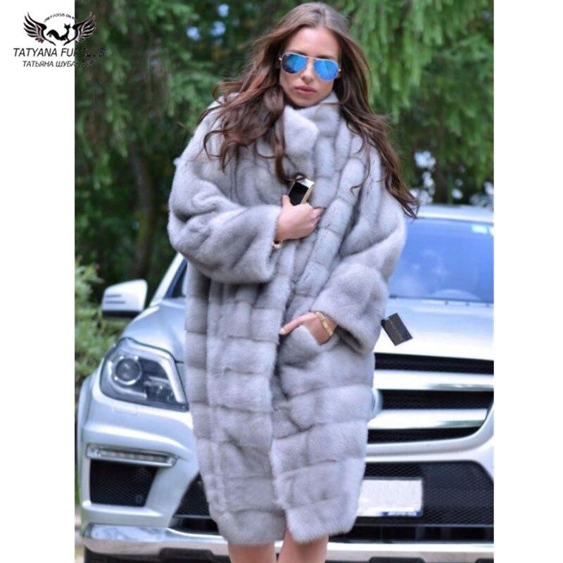 Réel Veste Furclubreal Véritable Tatyana Femmes Long De Chaud Se D'hiver Manteau Vison Naturel Collier Fourrure Luxe BnnwgzOfx