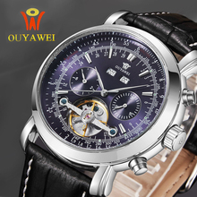 OUYAWEI Tourbillon Mechanical Automatic Watches Men Army Wrist Watches Montre Mecanique 24mm Leather Skeleton Reloj Hombre xfcs