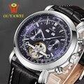 Ouyawei tourbillon relojes mecánicos automáticos de los hombres del ejército relojes de pulsera montre mecanique 24mm cuero skeleton reloj hombre xfcs
