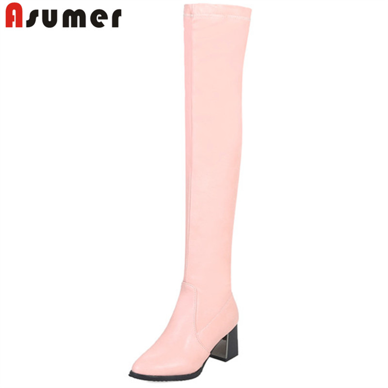 ASUMER Over-The-Knee Boots Women Pointed-Toe High-Heels Autumn Thick Ladies New Zip Winter