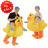 Halloween Ride On Duck Inflatable Costumes For Adult Kids Blow Up Animal Cosplay Rider Outfit Dance