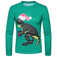 New Arrival 3D Printed Christmas Hat Animal Men T Shirt Stylish Slim Causal Long Sleeve Novelty