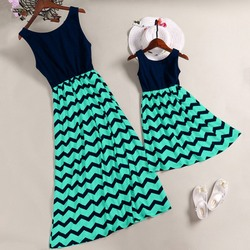 Striped Parent-child Dresses Casual Sleeveless Mini O-Neck Dress Simple Elegant Mother And Daughter Dresses 1