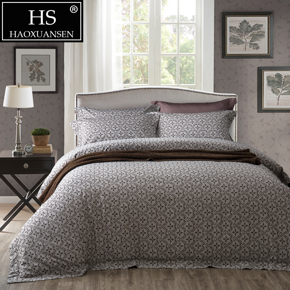 Yarn Dyed Jacquard Fashion Diamond Geometry Design Grey 4 Pieces Bedding Set Egyptian cotton Bed sheets Duvet Cover Pillowcase in Bedding Sets from Home Garden