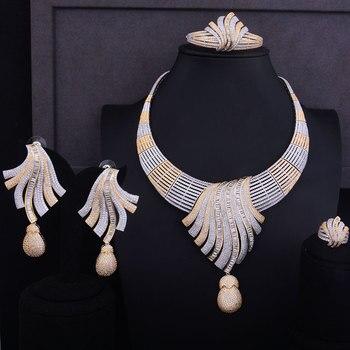 GODKI Luxury Feather Lariat Flower Women Wedding Cubic Zirconia Choker Necklace Earring Dubai Jewelry Set Jewellery Addict 5