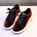 2017 spring new flat shoes casual shoes thick bottom  velvet Female shoes lace-up Women Shoes Loafers zapatos mujer huarche