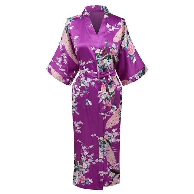 Verão Mulheres Roxo de Cetim de Seda Kimono Yukata Vestido de Casamento Da Dama De Honra Robe Camisola Sleepwear Flor S M L XL XXL XXXL ZS02