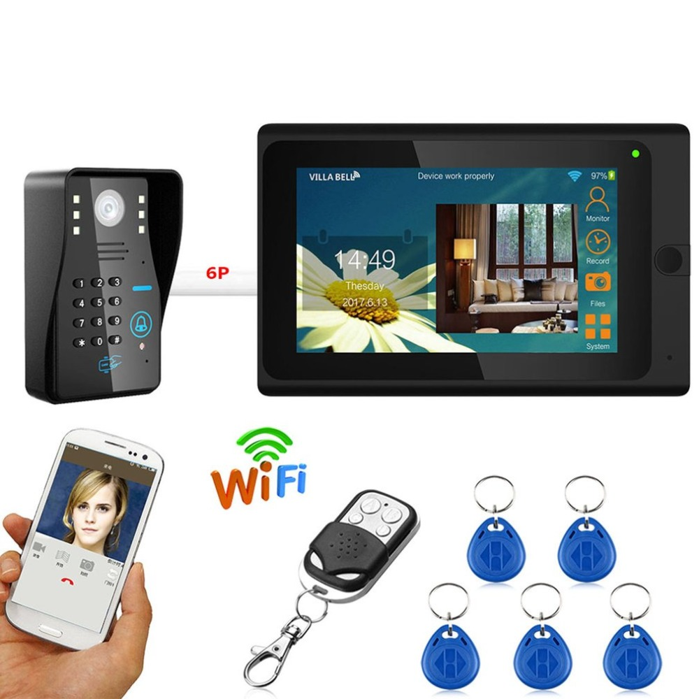 LESHP 7 inch Wired Wifi RFID Password Video Door Phone Doorbell Intercom Entry System Camera Night Vision Remote APP Unlocking 7 inch video doorbell tft lcd hd screen wired video doorphone for villa one monitor with one metal outdoor unit night vision