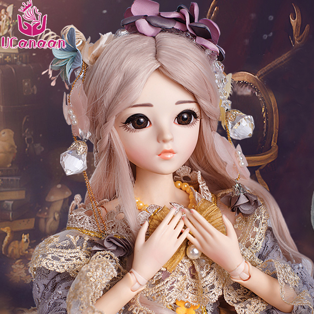UCanaan 60CM 1/3 BJD Girl Doll 18 Ball Joints Dolls With Outfit Shoes Dress Wig Makeup Princess Toys For Children Reborn SD Doll synthetic bjd wig long wavy wig hair for 1 3 24 60cm bjd sd dd luts doll dollfie cut fringe