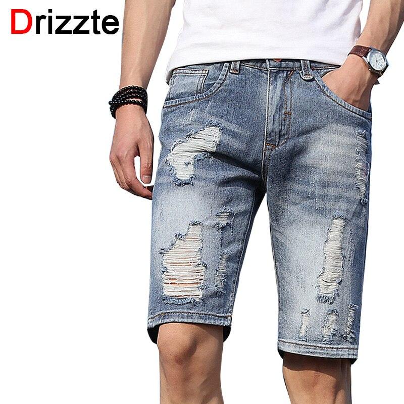 U15d1Drizzte Mens Shorts Lightweight Denim u3010 Distress Distress Ripped Jeans Short for u15db Men Men Jean ...