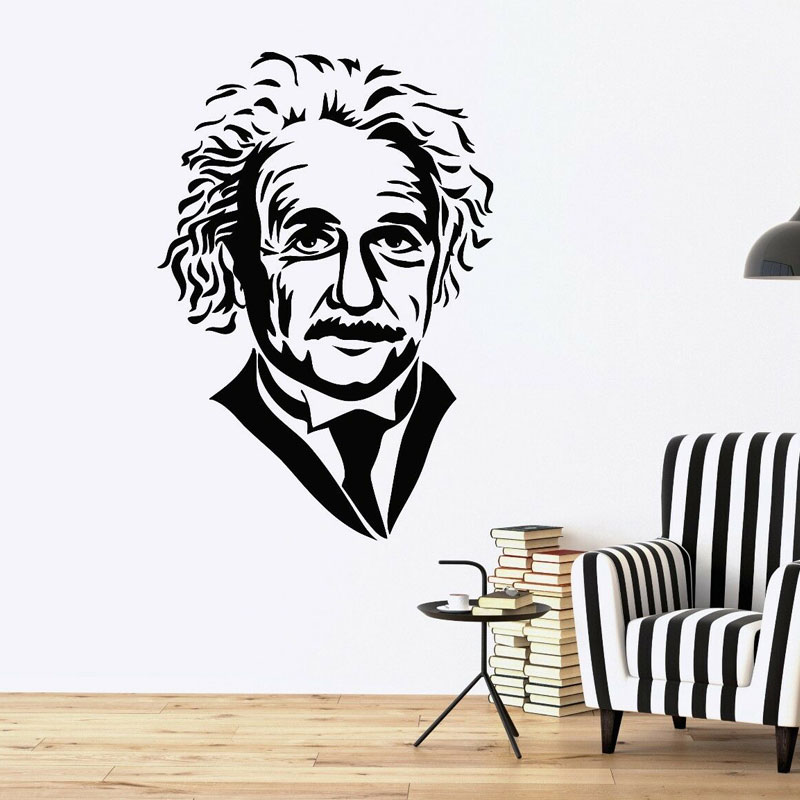 Famous Scientist Einstein Face Vinyl Wall Stickers School Classroom Wall Decal Removable Mural Reading Room Home Decoration 3313 in Wall Stickers from Home Garden