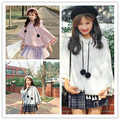 Moda Feminina outono Manga Coatwing 8431 Bacana Borla Estudantes Capa Casacos Casacos Branco Rosa Cinza Claro 3502