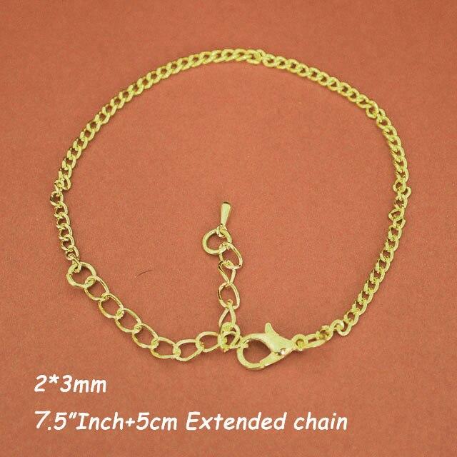 120 pièces couleur or 7.5 pouces 2mm chaînes de bordure Bracelet liens avec fermoirs de homard pour breloques 5 cm extensions fin gouttes vente en vrac