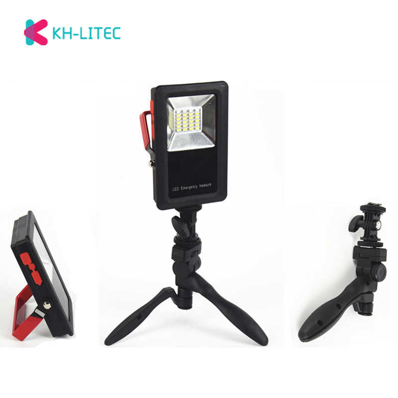 24 SMD LED White+Red+Blue Light Portable Spotlight 50W 2400LM Rechargeable Floodlight For Emergency Camping 18650 Operate