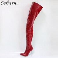 Sorbern цвет на заказ бедра высокие женские ботинки из металла женская обувь на каблуках шпильках сапоги женская обувь 2018 Весна Китайский разм