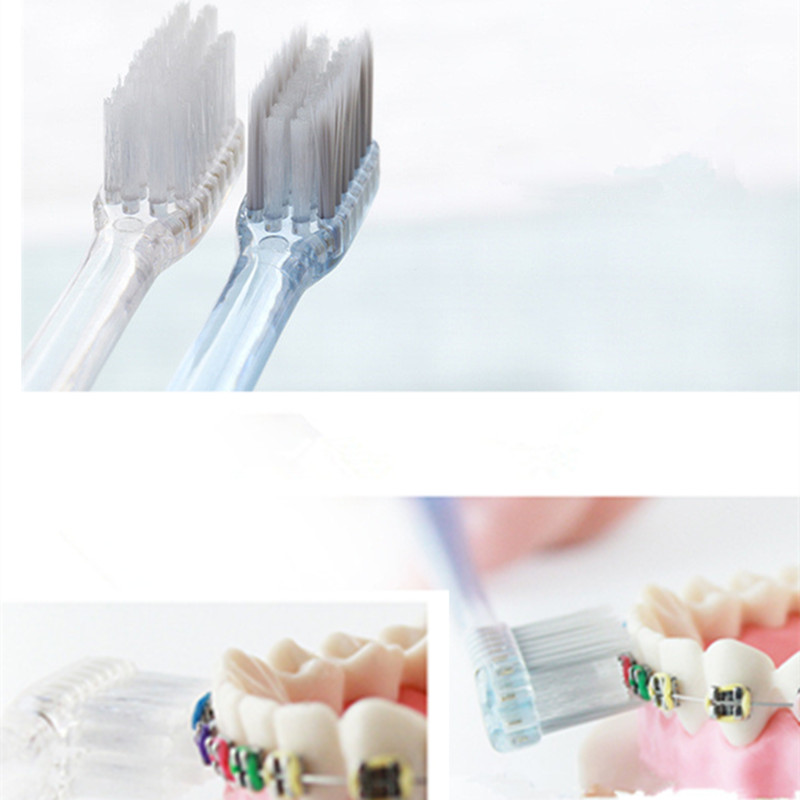 Adult toothbrush children toothbrush 10 pieces Orthodontic toothbrush small head Steel braces toothbrush Silver ions bristles image