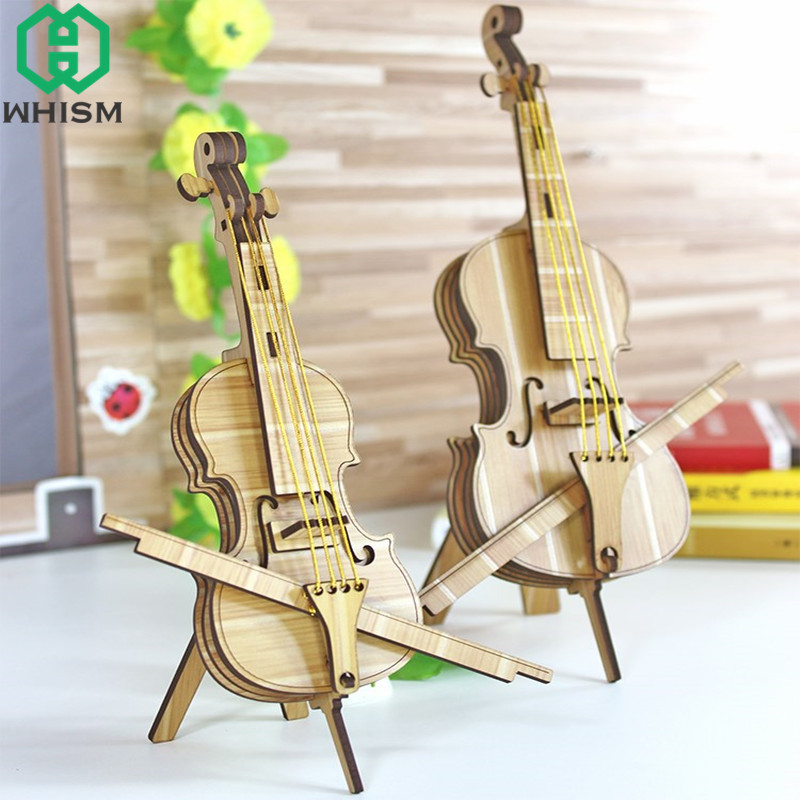 WHISM Wooden Musical Instruments Mini Violin Model Figurines Miniature Collection Crafts Decorative Ornaments Decoration Gifts