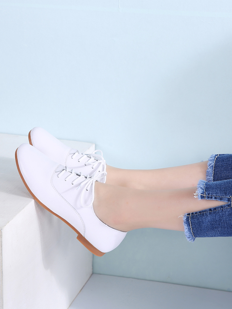STQ Moccasins Shoes Loafers Lace-Up Ballerina Genuine-Leather Women White 051