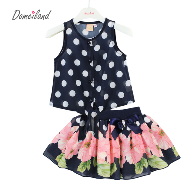 2017 fashion summer children clothing sets kids girl outfits Polka Dot sleeveless cotton Chiffon vest  tops skirt suits clothes