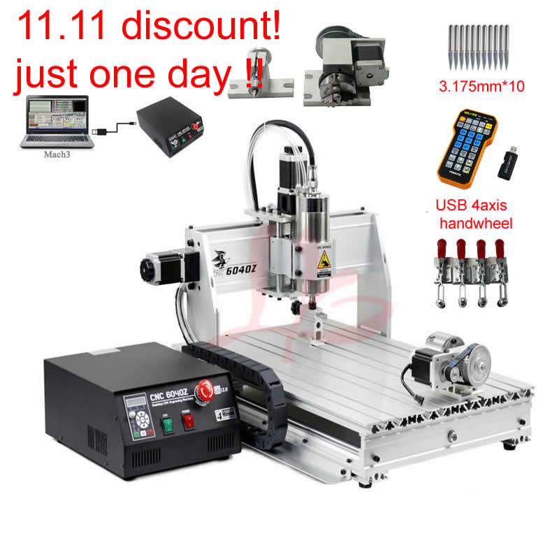 cnc 6040 engraving router 4axis woodworking milling machine 1500w cooling spindle mach3 control handwheel все цены