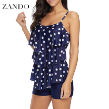 Zando Two Piece Plus Size Swimsuit Polka Dot Print Swimwear Women Ruffle Tankini Push Up Shorts Bathing Suit Beach Pad