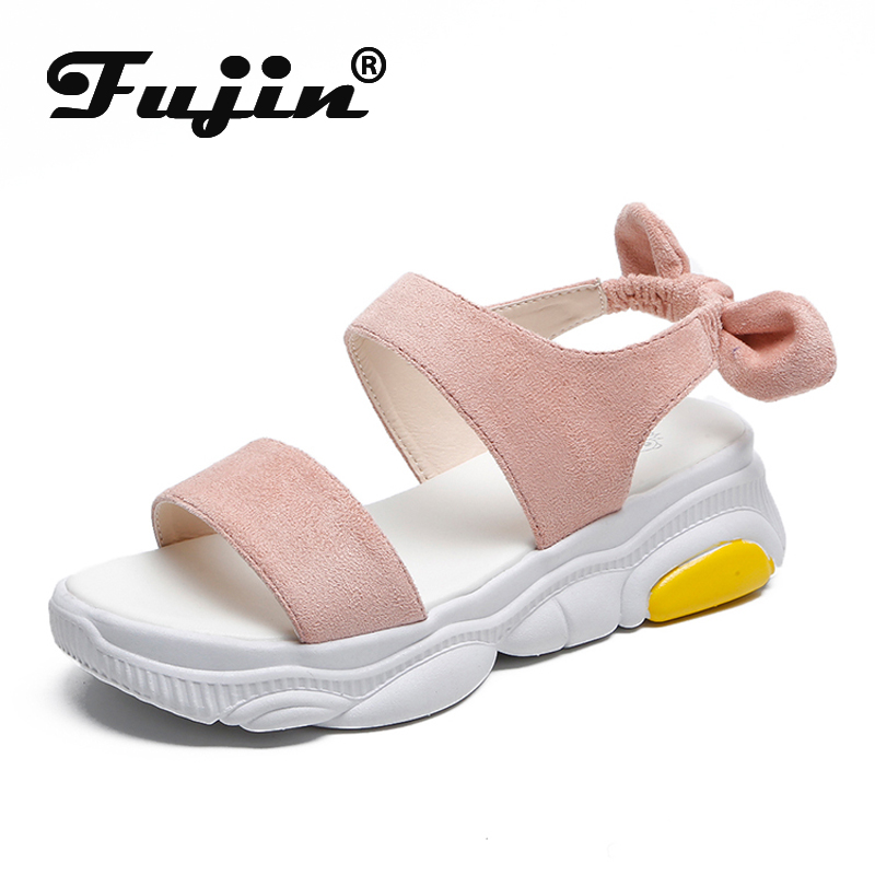 Fujin Women Casual Sandals Dropshipping Summer Sweet Butterfly Knot Thick Foundation Wild Harajuku Style Holiday Sandals in Middle Heels from Shoes
