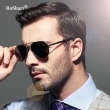 RoShari Polarizado gafas de Sol de la vendimia Hombres de lujo Diseñador de la Marca Fresca UV400 de Conducción Gafas de Sol de los hombres gafas de sol hombre