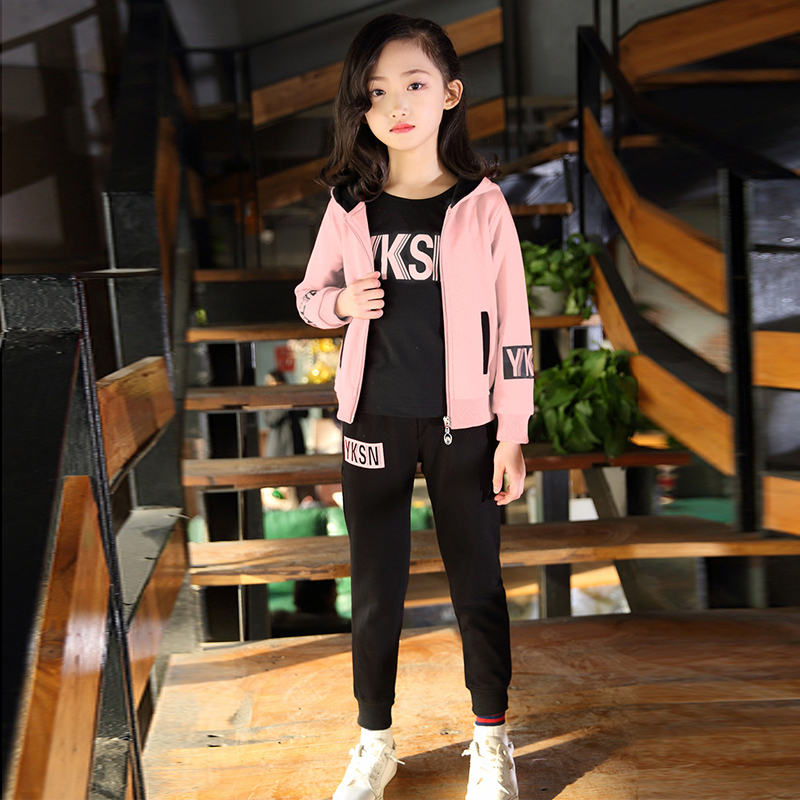2019 Girls Sport Suit 3pcs/set Clothes Jacket letter Zipper Kids Hoodies tshirt Pants Kids Tracksuit For Girls Clothing Sets