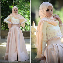 Two Pieces Muslim Prom Dresses 2017 Hijab Long Sleeves Saudi Arabia Style Party Gowns A line Lace Satin Prom Gowns with Flowers