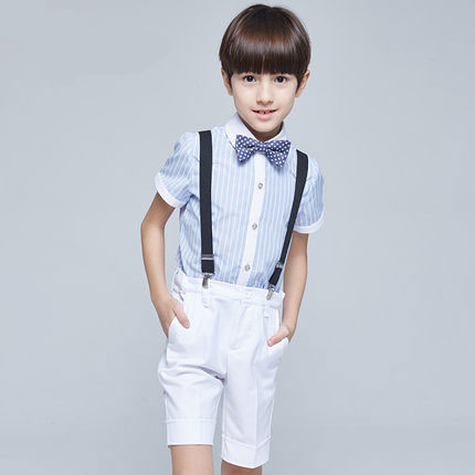 (Straps+shirt+bow tie+pants) New Summer clothing sets kids Top boys girls Navy Stripe kids clothes children School uniforms suit