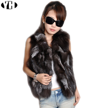 Fox Fur Gilet 2018 Real Fur Short Women Natural Winter Feminino Genuine fur vest Female Real