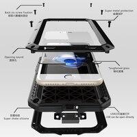 Luxury Doom For Apple Iphone7 7Plus Life Waterproof Shockproof Case Heavy Duty Glass Metal Case For