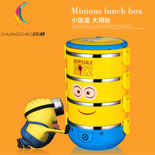 Cute Cartoon Minion stainless steel  Lunch Box For Kids With Plastic Tiffin Boxes Thermal Bento For School Students In Tableware