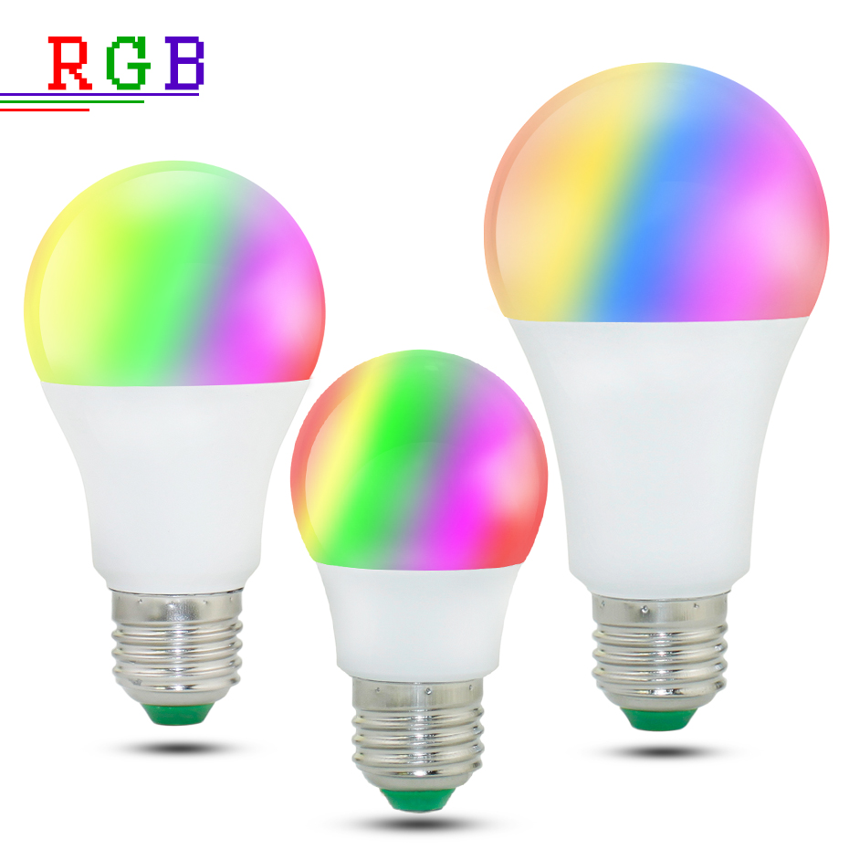 Image 2 - High Power RGB LED Lamp E27 E14 3W 5W RGB 10W 15W RGBW RGBW  Light AC85 265V Lampara 16 Colors Remote Controller bombillas led-in LED Bulbs & Tubes from Lights & Lighting