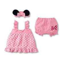 Hot Polka Dot 3Pcs Infant Baby Girl Outfit Top+ Pants+Headband Clothes Set 0-36M