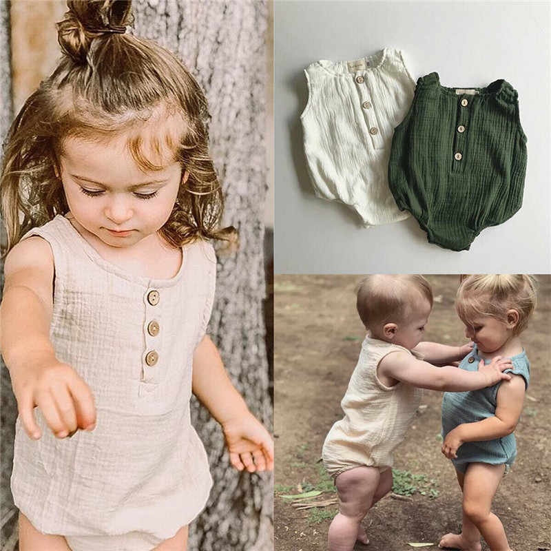 Casual Newborn Baby Girl Boy Bubble Cotton Bodysuit Sleeveless O-Neck Buttons Playsuits Unisex Baby Solid Clothes Tops 0-24M