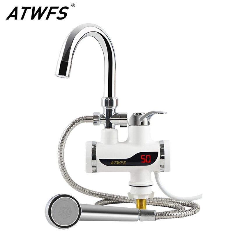 Atwfs 220v aquecedor de chuveiro aquecedores imediatos água aquecimento aquecedor torneira da cozinha água instantânea tankless