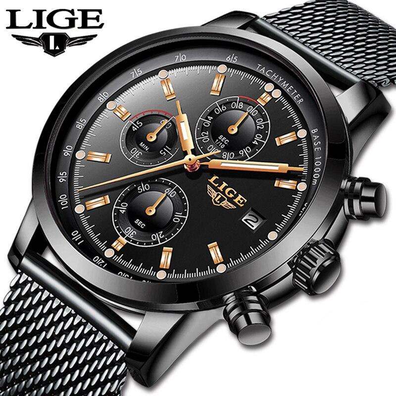 LIGE nouvelles montres hommes en acier inoxydable maille Quartz horloge étanche multi-fonction chronographe affaires noir montre-bracelet Relogio