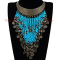 Vintage Retro Gold Hoop Resin Seed Beads Tassels Statement Pendant Bib Necklace