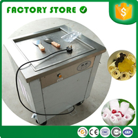 Shipping by sea CFR single square cool pan fry fried ice cream machine with foot defrost cream machine ice cream machinefried ice cream machine -