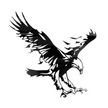 Eagle Pattern Reflective Material Car Stickers Car Engine Hood Decal Emblem black 50x50cm