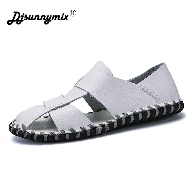 DJSUNNYMIX Genuine Leather Men Sandals Shoes Fretwork Breathable Fisherman Shoes Style Retro Gladiator summer men Business shoes