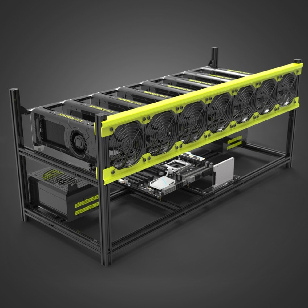 Practical V3D8 GPU Mining Rig Aluminum Alloy Stackable Graphics Case Up To 8 GPU Open Air Frame Rack Bracket