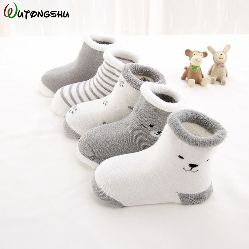 5 Pairs/lot Baby Socks Newborn Winter Autumn Socks For Boy Girl New Cartoon Baby Boy Short Socks For 0-2Y