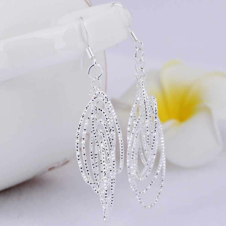 Fashion Phong Cách Thanh Lịch Vòng Tròn Shaped Mạ Bạc Bông Tai Phụ Nữ Charming Jewelery