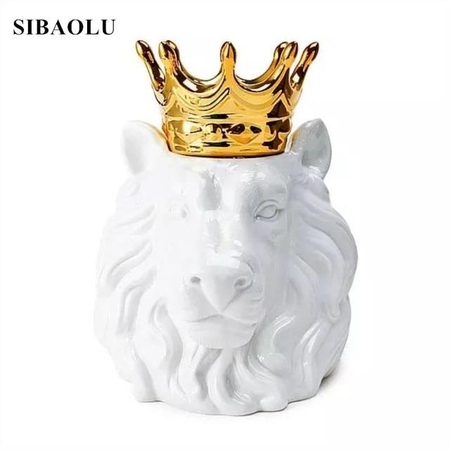 INS Golden Crown Animal Head Storage Jar Bear Head Fox Head Ornaments  Figurines Ceramic Miniatures For
