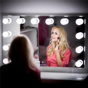Image 1 - Vaidade led espelho luzes kit pode ser escurecido 10 lâmpadas de iluminação diy tira para maquiagem penteadeira estilo hollywood lâmpada led