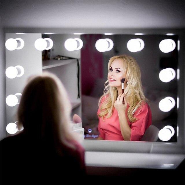Vaidade led espelho luzes kit pode ser escurecido 10 lâmpadas de iluminação diy tira para maquiagem penteadeira estilo hollywood lâmpada led